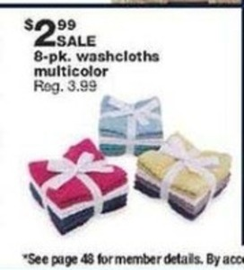 8pk Washcloths Multicolor