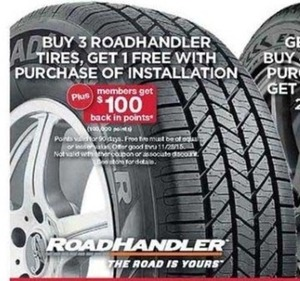 Roadhandler Tires w/ Installation + $100 Back in Points