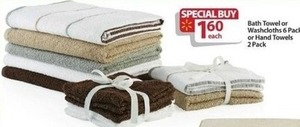 Bath Towel or Washcloths 6-Pack