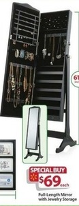 Full-Length Mirror w/ Jewelry Storage