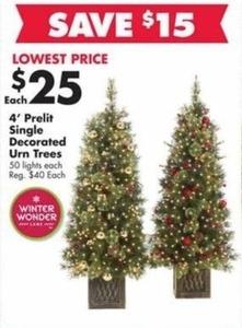 4' Prelit Single Decorted Urn Trees