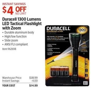 Duracell 1300 Lumens LED Tactical Flashlight with Zoom