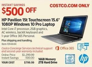 """HP Pavillion 15t Touchscreen 15.6"""" Windows 10 Pro Laptop"""