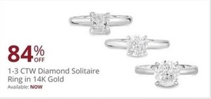 1 -3 CTW Diamond Solitaire Ring 14K Gold