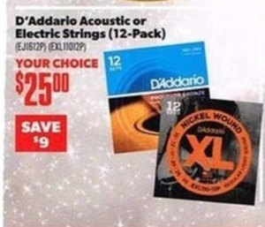D'Addario Acoustic or Electric Strings 12pk.