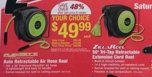 ZillaReel 50' Tri-Tap Retractable Extension Cord Reel w/ Rebate