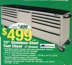 "72"" Stainless Steel Tool Chest"