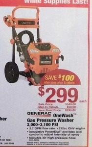 Generac OneWash Gas Pressure Washer After Rebate