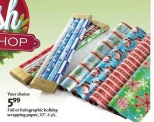 Foil or Holographic Holiday Wrapping paper 4pk.