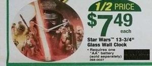"""Star Wars 13-3/4"""" Glass Wall Clock"""