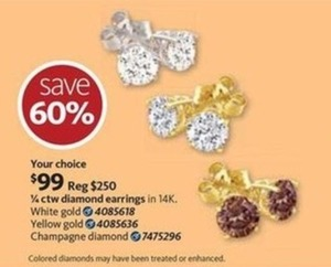 1/4 CTW Champagne Diamond Earrings