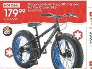 "Mongoose Boys' Pugg 20"" 7-Speed Fat Tire Cruiser Bike"