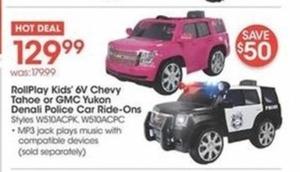 RollPlay Kids' 6V Chevy Tahoe or GMC Yukon Denali Police Car Ride-On
