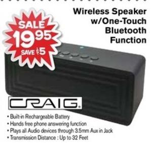Craig Wireless Speaker w/ One-Touch Bluetooth Function