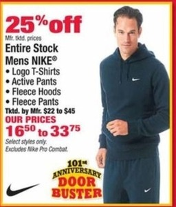 Entire Stock of Nike Men's T-Shirts, Pants, Fleece Hoods and Pants
