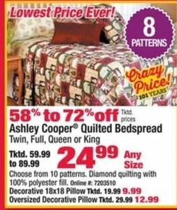Ashley Cooper Quilted Bedspread (Assorted Sizes)