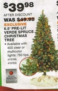 Home Accents Holiday 6.5' Pre-Lit Verde Spruce Christmas Tree