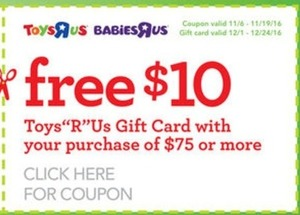$10 TRU Gift Card with $75 Purchase