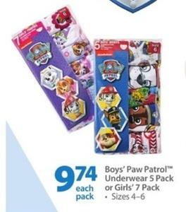 Boys' Paw Patrol Underwear 5 Pack or Girls' 7 Pack