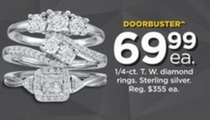1/4-ct. T.W. Diamond Rings in Sterling Silver