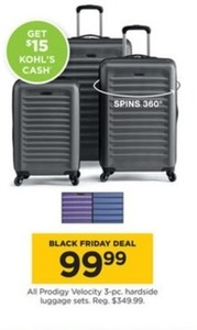 All Prodigy Velocity 3PC Hardside Luggage Sets + $15 Kohl's Cash