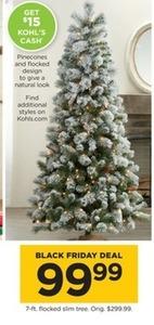 7' Flocked Slim Tree + $15 Kohl's Cash
