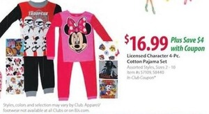 4-Pc. Character Cotton Pajama Sets (After Coupon)