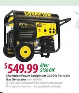 Champion Power Equipment 7,500W Portable Gas Generator