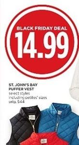 St. John's Bay Puffer Vest Select Styles