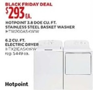 HotPoint 3.8 cu. ft. Washer or 6.2 cu. ft. Electric Dryer