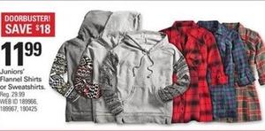 Juniors Flannel Shirts or Sweatshirts