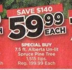 7.5' Alberta Un-Lit Spruce Pine Tree