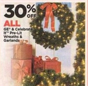 GE & Celebrate It Pre-Lit Wreaths & Garlands