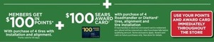 $100 In Points + $100 Sears Award Card w/ 4 Tire Installation and Alignment