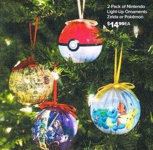 Nintendo Light-Up Ornaments Zelda or Pokemon - 2 Pack