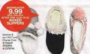 Isotoner, I-N-C and Charter Club Boxed Slippers