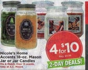 Nicole's Home Accents 18-oz. Mason Jar or Jar Candles