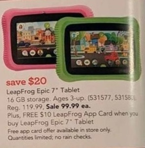 "App Card Offer w/ LeapFrog Epic 7"" Tablet Purchase"