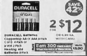 Duracell Batteris + $3 PP