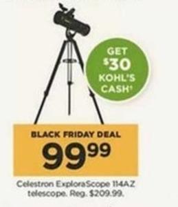 Celestron ExploraScope 114AZ Telescope + $30 Kohl's Cash