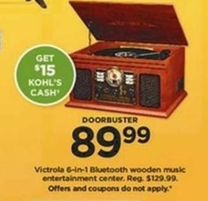 Victrola 6 in 1 Bluetooth Wooden Music Entertainment Center + $15 Kohl's Cash