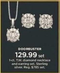 1-ct. T.W. Diamond Necklace and Earring Set