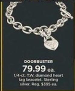 1/4-ct. T.W. Diamond Heart Tag Bracelet