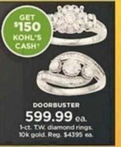 1-ct TW 10k Gold Diamond Rings + $150 Kohl's Cash