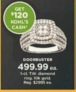1-Ct. T.W. 10k Gold Diamond Ring + $120 Kohl's Cash