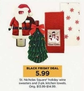 St. Nicholas Square Holiday Wine Sweaters or 2 pk Kitchen Towels