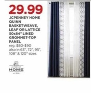 JCPenny Home Quinn Basketweave, Leaf or Lattice Lined Grommet-Top Panel Any Size