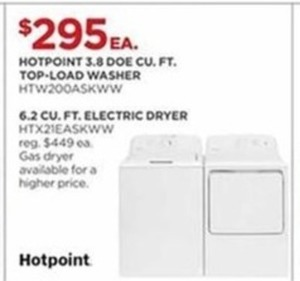 Hotpoint 3.8 Doe Cu. Ft Top Load Washer Or 6.2 Cu. Ft. Electric Dryer