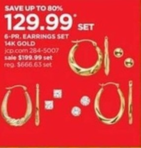 6-Pair 14-K Gold Earring Set