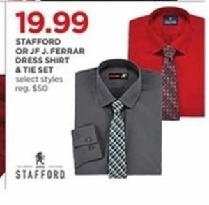 Men's Stafford or JF J.Ferrar Dress Shirt & Tie Set